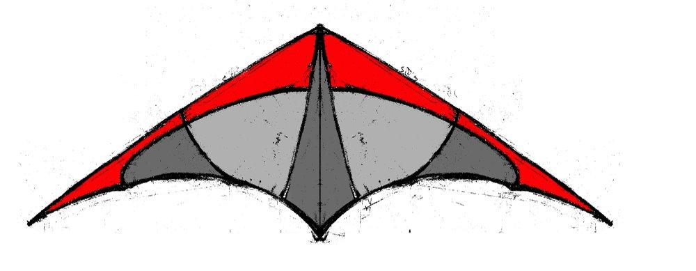 dessin d'un cerf-volant rouge et gris
