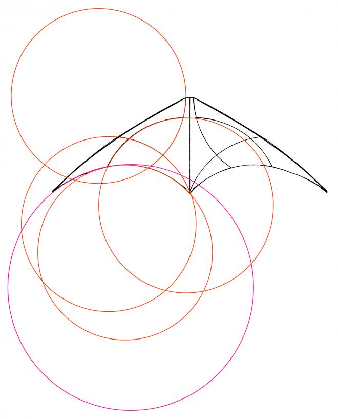 Cercles montrant la construction d'un décoration d'un cerf-volant