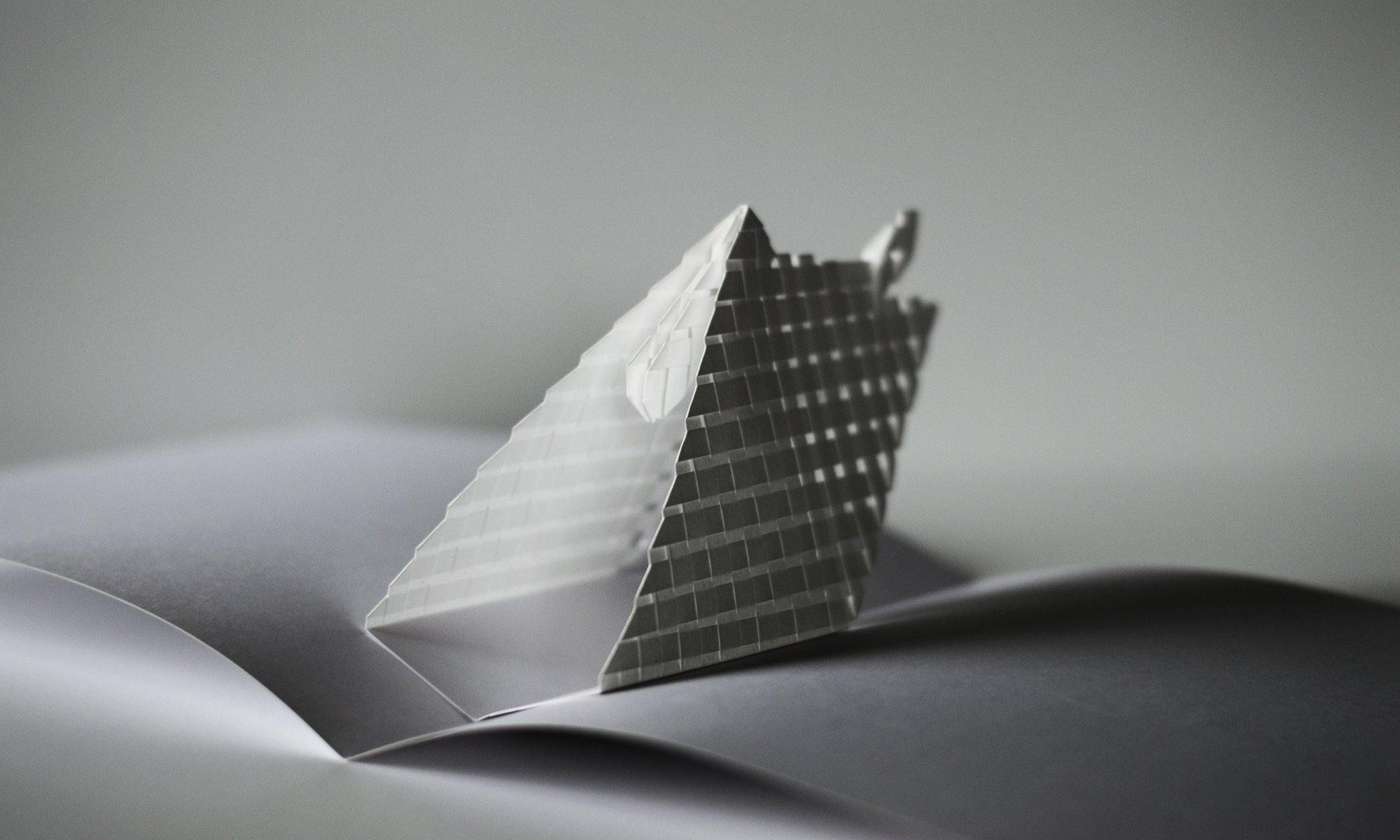 Pop up ouvert format une tente de papier tissé