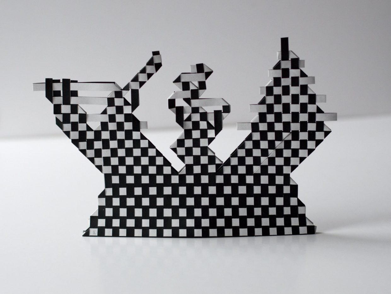 tissage de papier graphique en noir et blanc