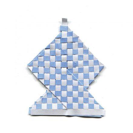 tisssage bleu et blanc en losange