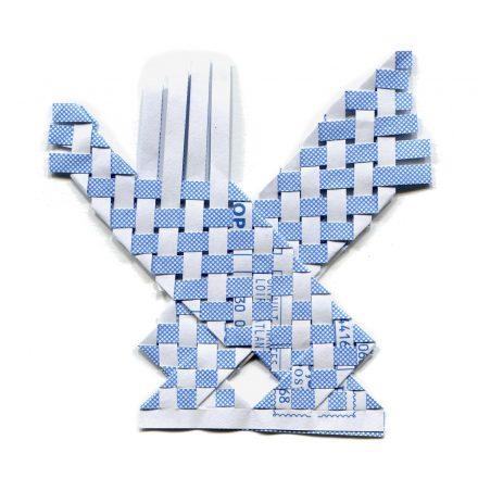 tissage de papier bleu et blanc
