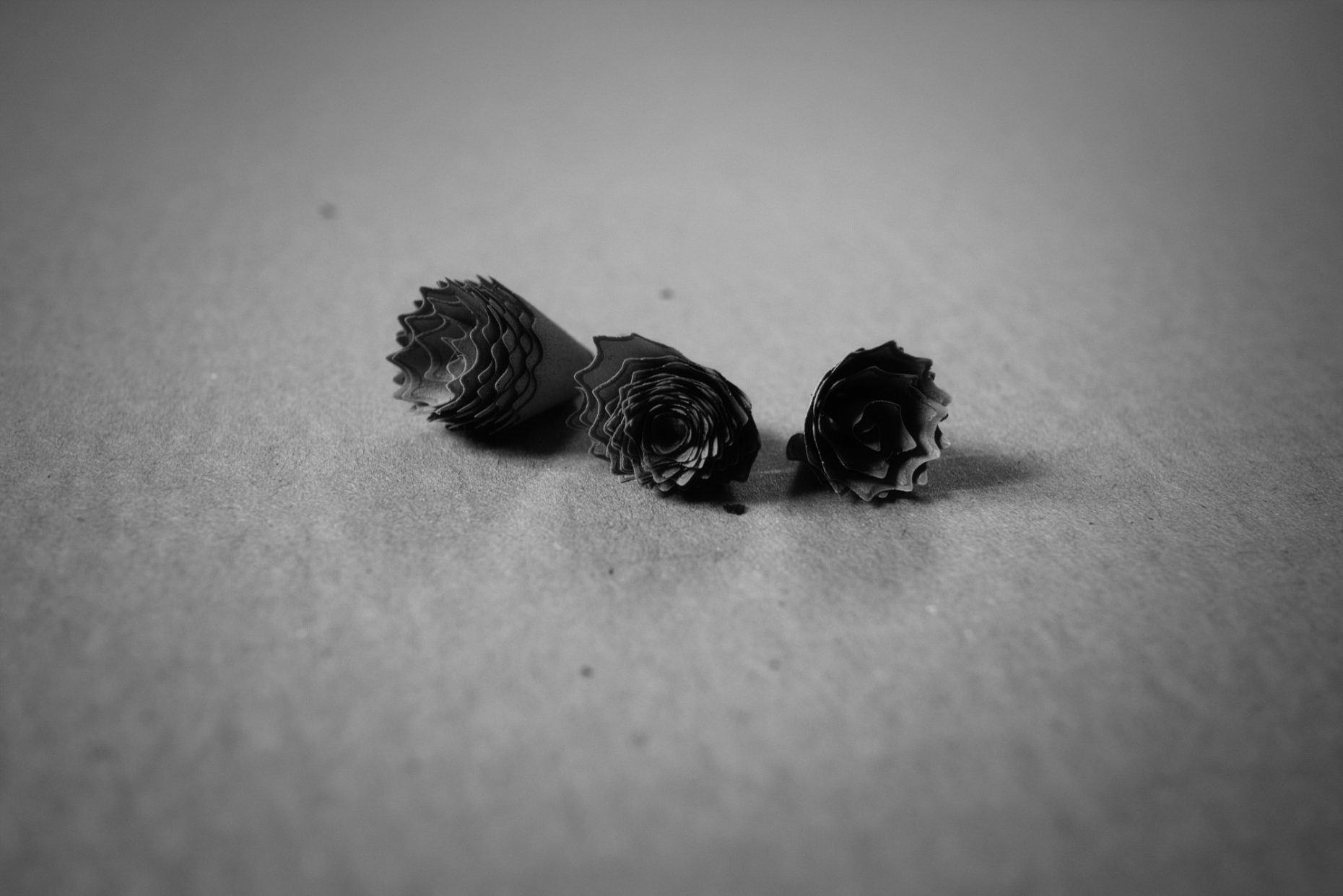 3 pelures de crayon de bois enroulées en cônes