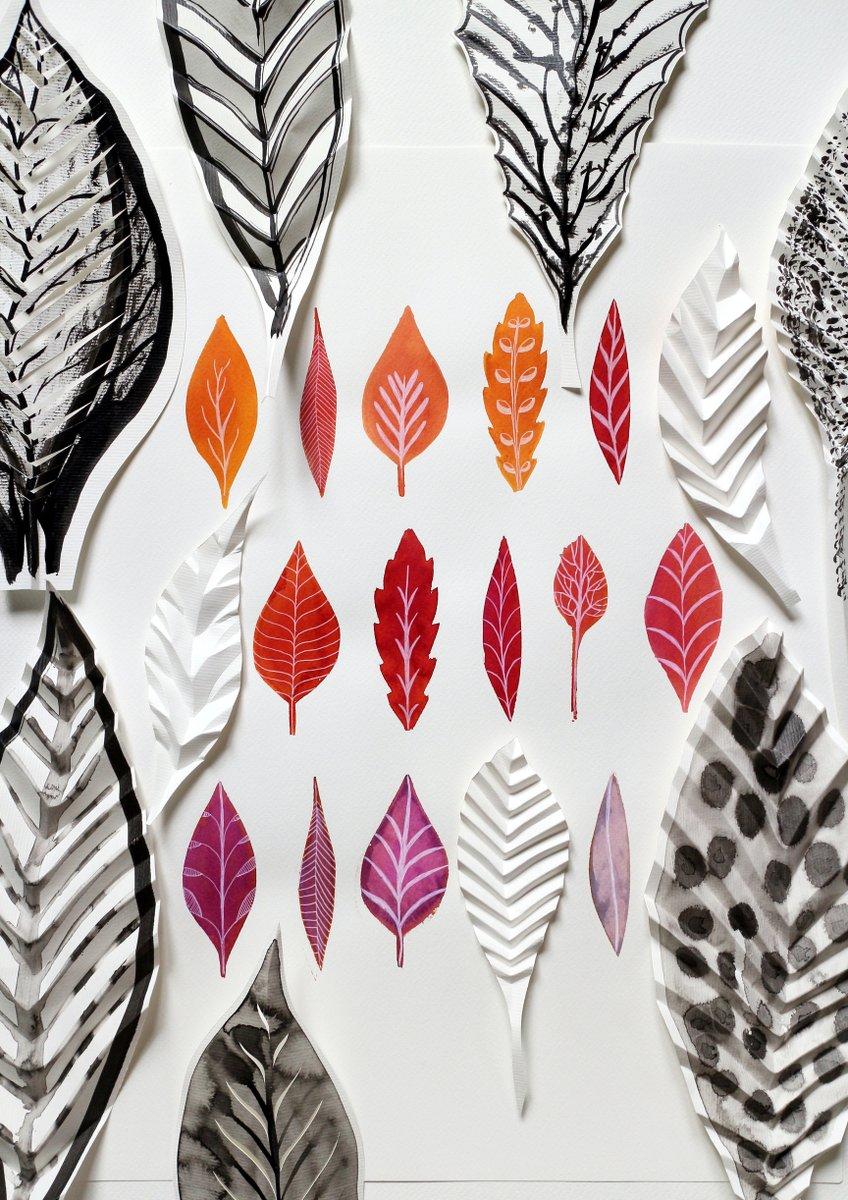 aquarelles feuilles et pliages