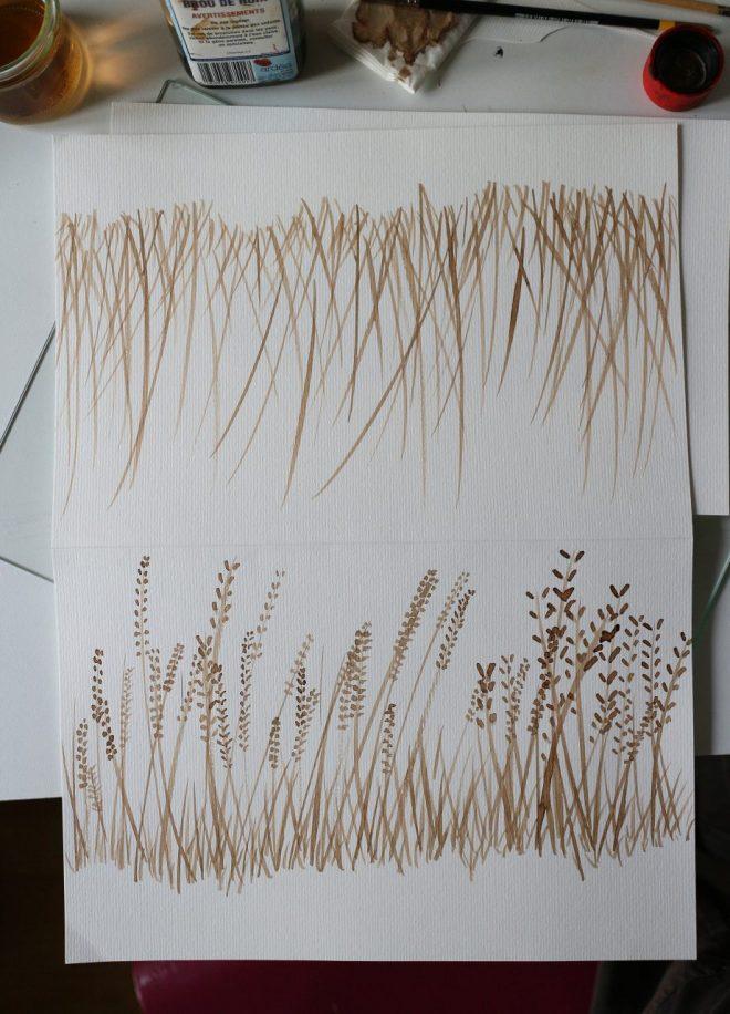 dessin d'herbes en graines