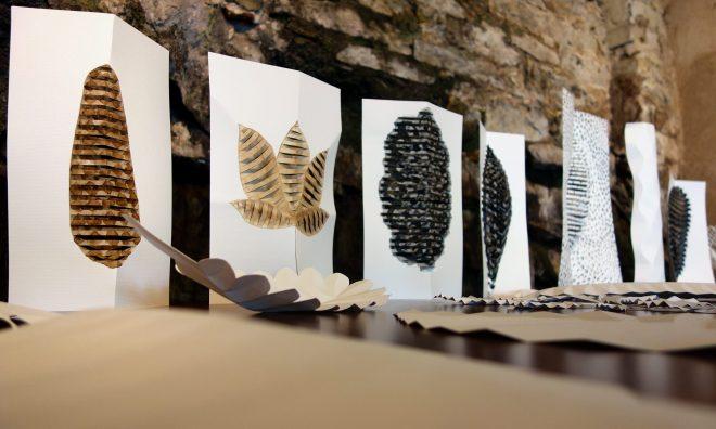 Séries de découpages papier exposés