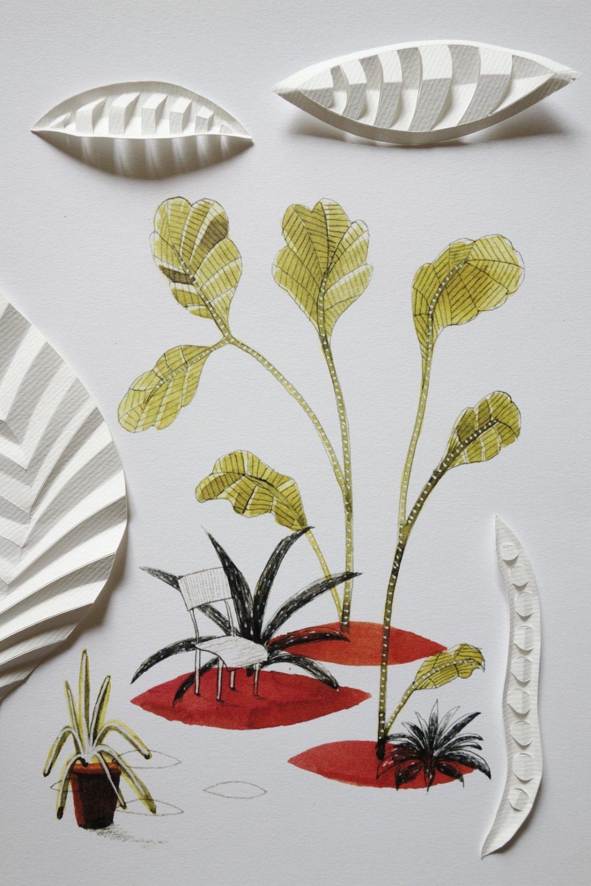 dessin et pliages de feuilles