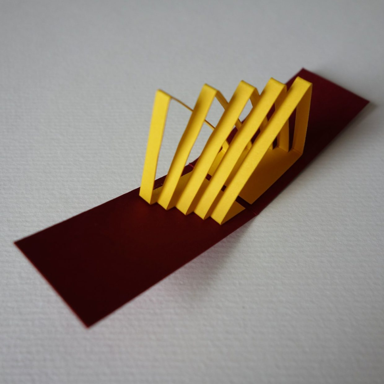 Mini popup kirigami rouge et jaune